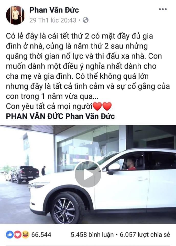 Phan Văn Đức tậu ô tô tiền tỷ tặng mẹ đón Tết