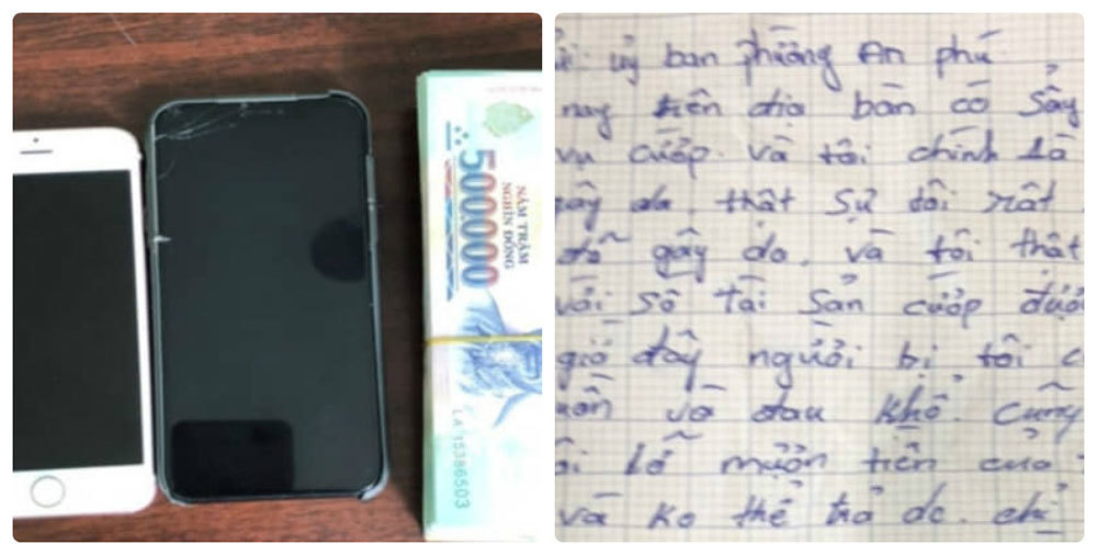 Tên cướp viết tâm thư trả lại hơn 100 triệu đồng vì... hối hận