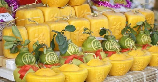 hoa quả độc lạ,thị trường Tết,Tết Nguyên đán,dưa hấu thỏi vàng,bưởi hồ lô
