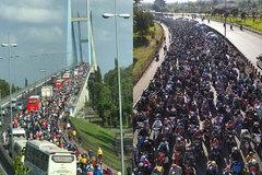 Cầu Mỹ Thuận 'nêm' cứng người, đường về Sài Gòn kẹt xe nhiều km