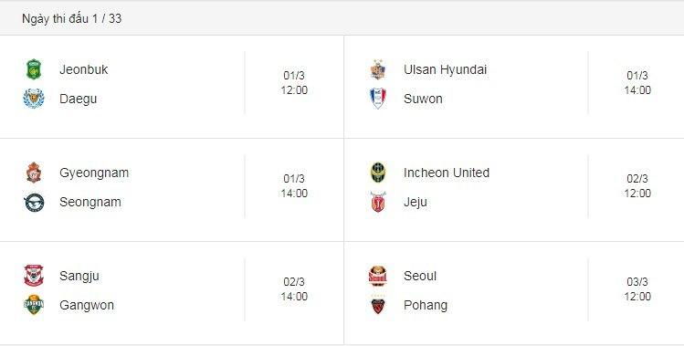 Lịch thi đấu bóng đá,K-League 2019,Công Phượng