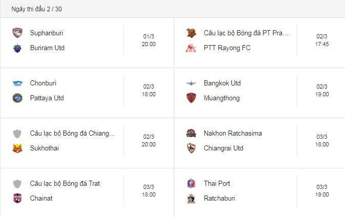 Lịch thi đấu Thai League 2019 của Xuân Trường, Văn Lâm
