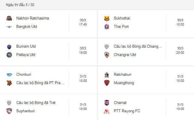 Lịch thi đấu bóng đá,Thai League 2019,Đặng Văn Lâm,Xuân Trường