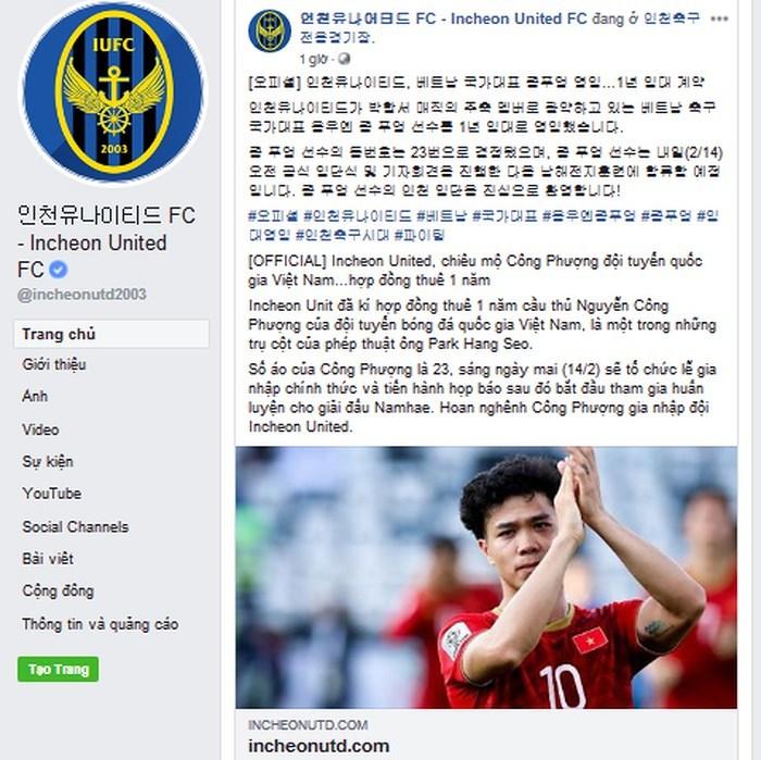 Công Phượng đến Incheon: Bầu Đức muốn 'phục thù'