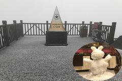 Mưa băng lã chã ngỡ tuyết rơi, phủ trắng đường lên đỉnh Fansipan