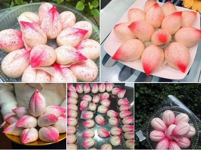 Phát sốt với cỗ Rằm tháng Giêng 100 cái bánh bao đào tiên hồng rực