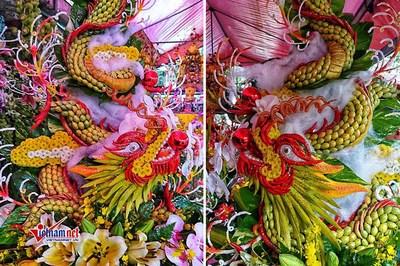 Mãn nhãn cặp mâm lễ 'long chầu phượng vũ' dâng Đức thánh Trần