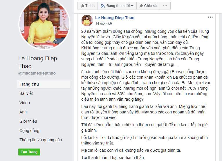 Tranh giành tiền, quyền với chồng: Lời chua xót của bà Lê Hoàng Diệp Thảo