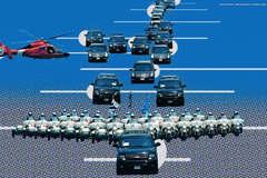 Giải mã sơ đồ dàn xe bảo vệ an ninh cho Tổng thống Mỹ