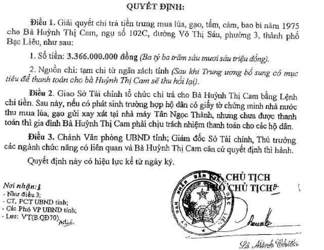 Cặp vợ chồng già đi đòi tiền mua lúa suốt 43 năm, Sở Tài chính Bạc Liêu nói gì?