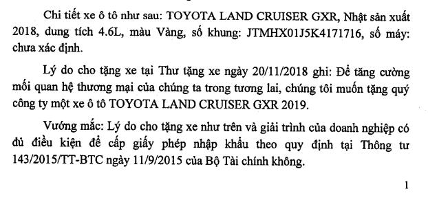 Doanh nghiệp Việt được đối tác ngoại tặng xe hơn 6 tỷ, hải quan lúng túng