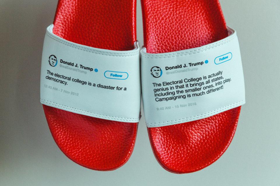 Bán hàng bá đạo: Dép in hình Twitter TT Trump, thu hàng chục tỷ