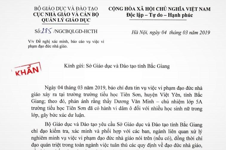 Hàng chục nữ sinh bị thầy giáo xâm hại, Bộ GD-ĐT đề nghị Sở Bắc Giang xác minh