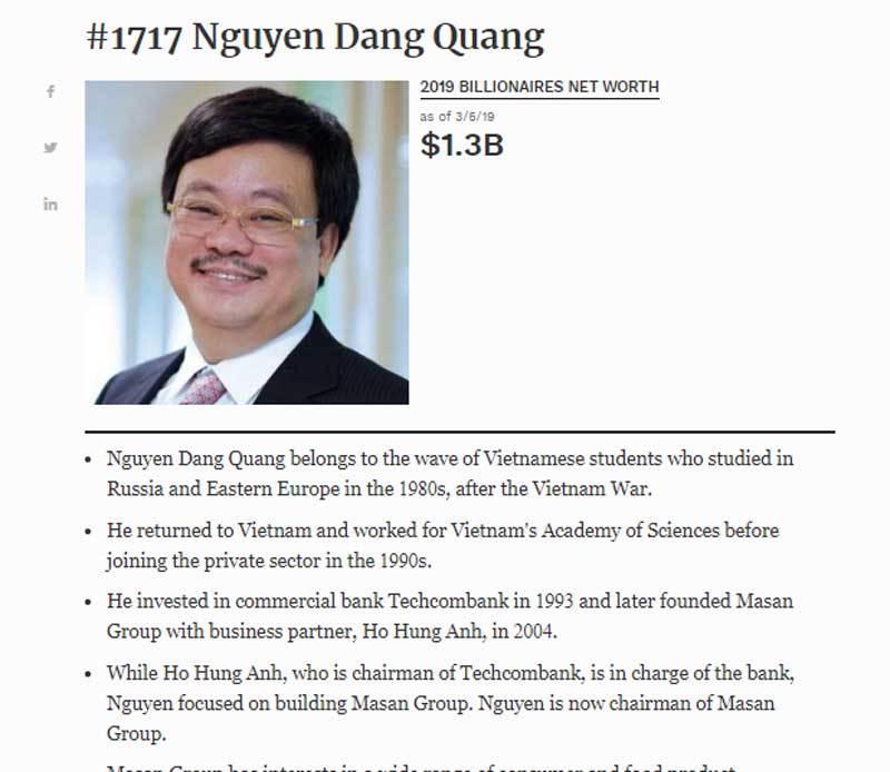 Việt Nam chính thức có thêm 2 tỷ phú USD tầm cỡ toàn cầu