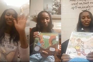 Cô hiệu trưởng đọc truyện cho học sinh toàn trường trước khi đi ngủ