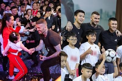 David Beckham vui đùa bên con gái Hà Anh, so tài cùng Duy Mạnh
