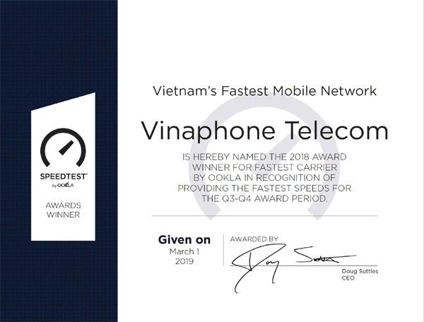VinaPhone nhận giải nhà mạng có tốc độ 3G/4G số một Việt Nam