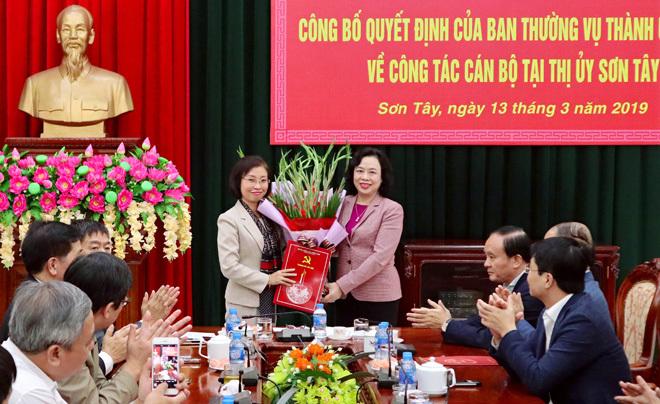Hà Nội bổ nhiệm nữ Bí thư thị ủy Sơn Tây