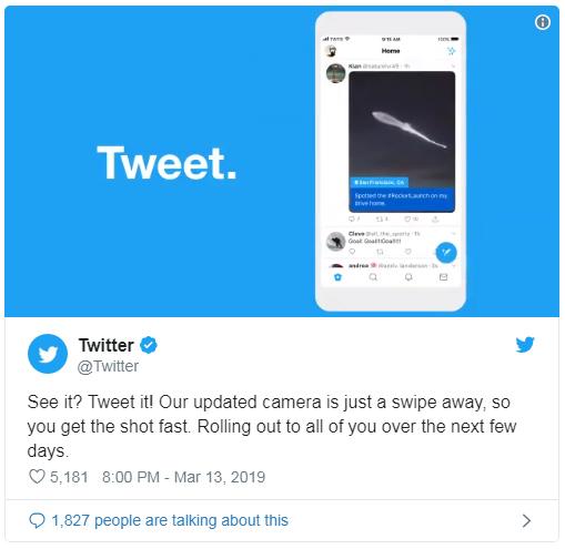 Twitter ra mắt máy ảnh cạnh tranh với Instagram và Snapchat