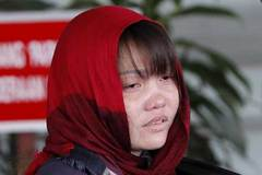Đoàn Thị Hương hốc hác, mắt thâm quầng tới tòa án
