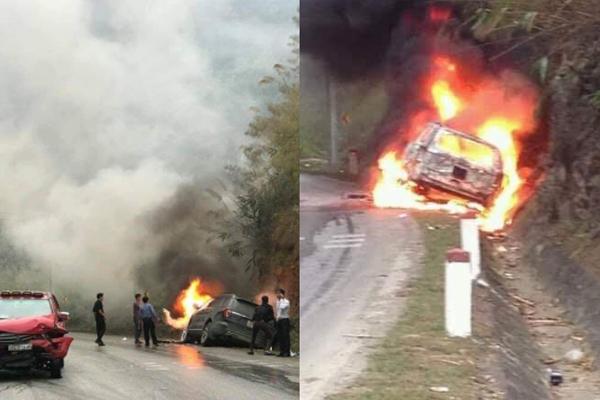 Xế hộp đấu đầu xe bán tải, bốc cháy dữ dội trên đèo Thung Khe
