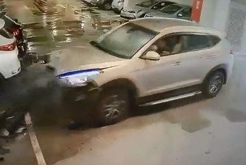 SUV lao vào hầm gửi xe với tốc độ 'xé gió'