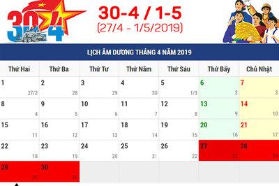Lịch nghỉ Giỗ tổ Hùng Vương, 30/4 và 1/5 năm 2019