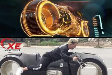 """Đức """"Tào phớ"""" lái siêu mô tô Tron Light Cycle có chất như trong phim?"""