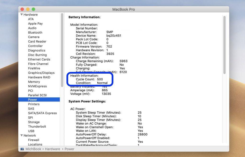 Cách kiểm tra số chu kỳ sạc pin trên MacBook