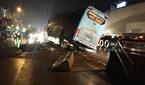 Tài xế buồn ngủ, xe chở 40 khách 'treo' chênh vênh trên dải phân cách