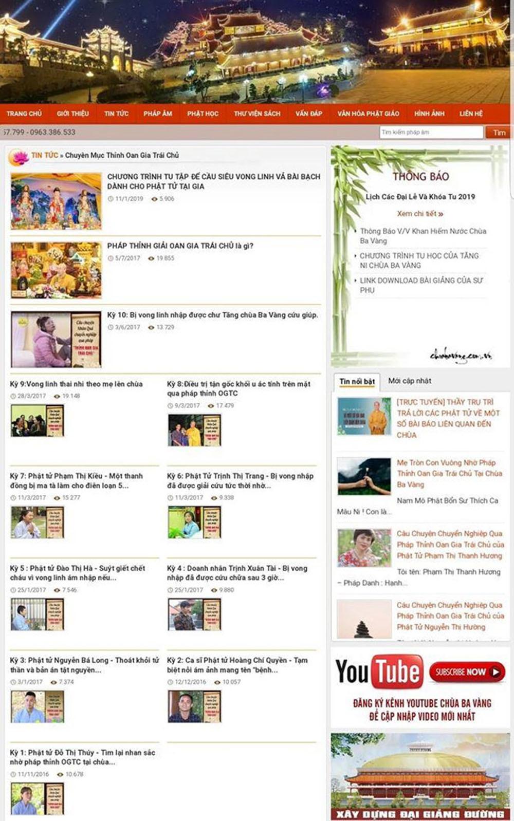 Hàng trăm bài viết và số tài khoản ngân hàng chùa Ba Vàng biến mất
