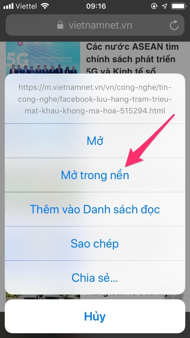 Mẹo dùng iPhone: Cách mở thẻ mới ở chế độ nền trên Safari