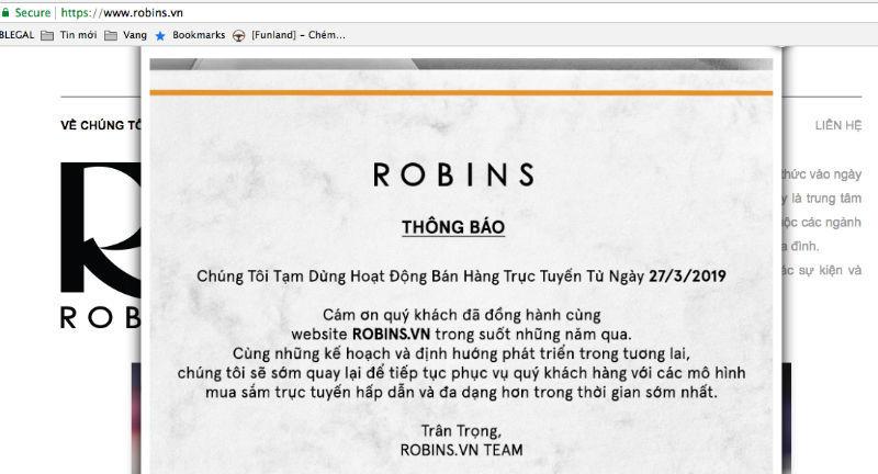 Trang bán hàng Robins đóng cửa: Thêm 1 ông lớn bỏ cuộc