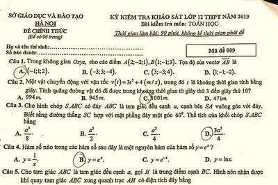 Đề toán thi thử THPT quốc gia năm 2019 ở Hà Nội