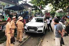 Xe Audi chặn giữa đường ray, tàu hỏa phanh gấp tại Đà Nẵng