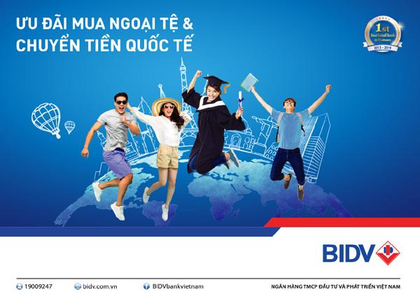 BIDV ưu đãi khách mua ngoại tệ và chuyển tiền quốc tế