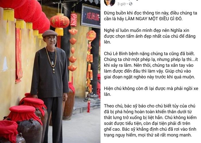 Sao Việt xót xa trước bệnh tình trở nặng của nghệ sĩ Lê Bình