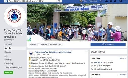 Fanpage giả mạo bệnh viện nhi xin tiền cho bệnh nhân nghèo