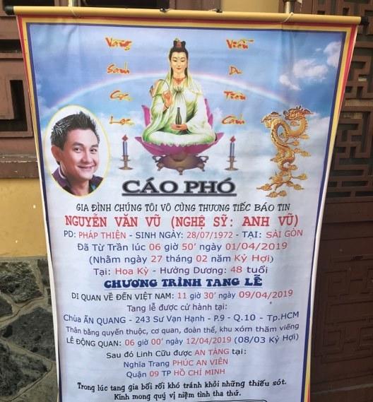 Tang lễ đẫm nước mắt của nghệ sĩ Anh Vũ ở chùa Ấn Quang