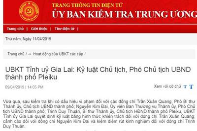 Kỷ luật Chủ tịch, Phó Chủ tịch UBND thành phố Pleiku