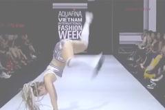 Minh Hằng lộn người thất bại, người mẫu ngã dúi dụi vì sàn diễn trơn trượt