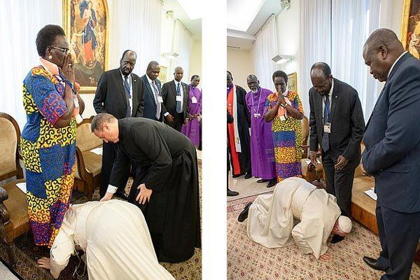 Lý do Giáo Hoàng quỳ mọp, hôn chân các lãnh đạo Nam Sudan