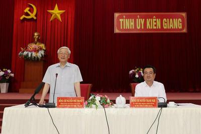 Hình ảnh Tổng bí thư, Chủ tịch nước làm việc tại Kiên Giang