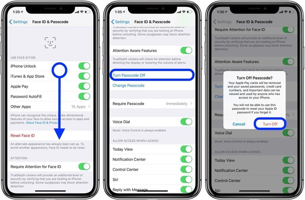 Cách tắt passcode tạm thời hoặc vĩnh viễn trên iPhone, iPad