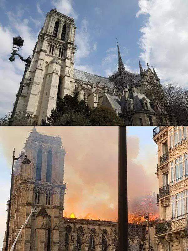 Hình ảnh Nhà thờ Đức Bà trước và sau hỏa hoạn dữ dội