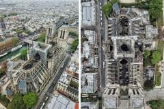 Hình ảnh xót xa về Nhà thờ Đức Bà Paris ghi từ trên không