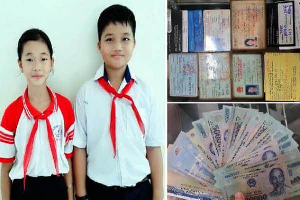Hai học sinh nghèo trả lại ví tiền cho người mất