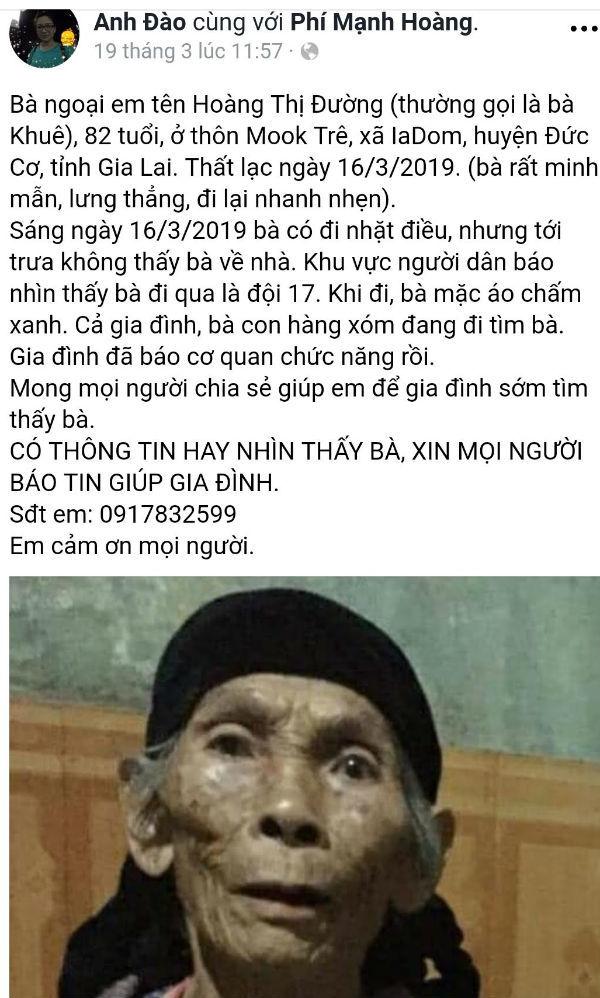 Cụ bà 82 tuổi mang theo nhiều tiền, vàng mất tích bí ẩn