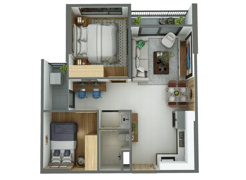 Căn hộ 55m2 thiết kế cực chuẩn cho vợ chồng trẻ