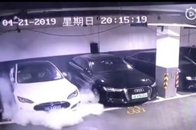 Xem xế hộp bất ngờ phát nổ trong hầm để xe